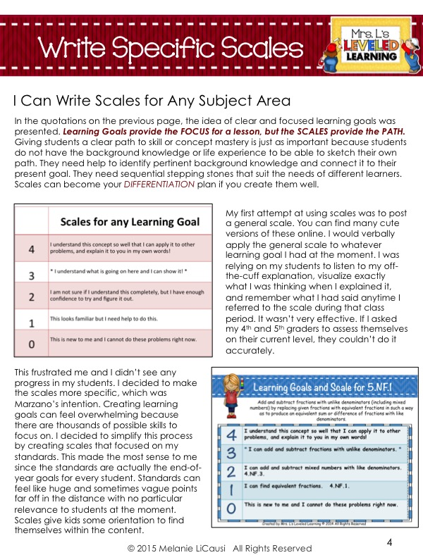 Marzano Guide page 4 Write your own Scales