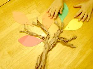 Leaves on paper tree
