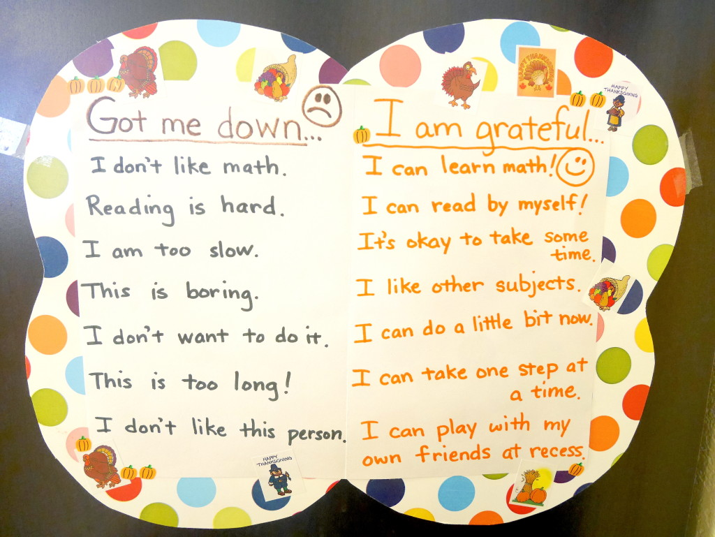 Thanksgiving:Positive Thinking Chart