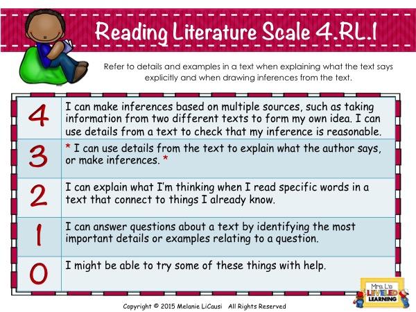 4R1 Marzano Scale for Common Core Reading