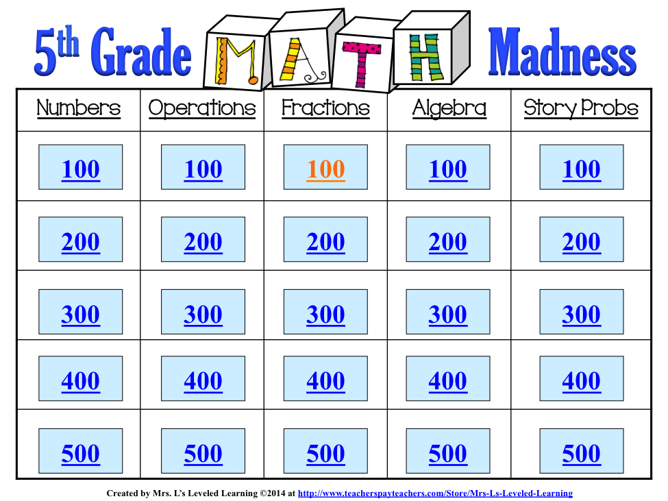 Math Madness! Fun Math Standards Review for Grade Levels