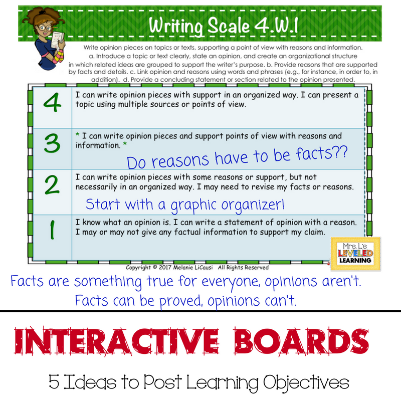 5 Ideas to Post Learning Objectives with Scales