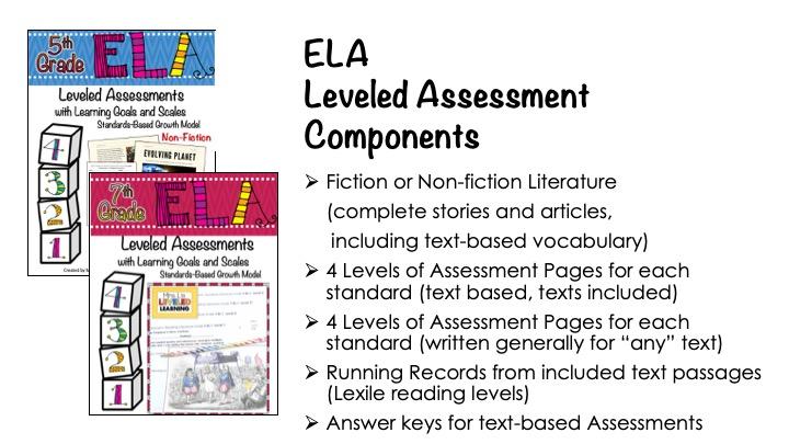 ELA Leveled Assessments for Reading Literature & Information